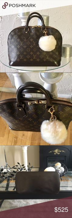 """% Authentic Louis Vuitton Alma handbag Authentic Louis Vuitton Alma Handbag monogram. Looks like new! Leather is professionally dyed and sealed for protection a beautiful chocolate brown.  Size (Inch)W12.2"""" * H9.4"""" * D6.3"""" Handle : 11.8"""" MaterialMonogram Made inFrance Date codeVI1902  Inside :  Open pocket x 1 Louis Vuitton Bags"""