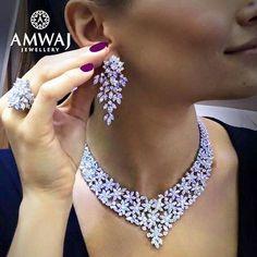 Diamond Necklaces : Amwaj Jewellery.Looking forward to trying on a few of those stunning diamond set