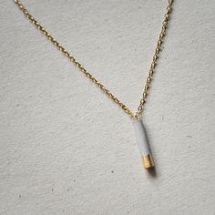 Kette mit Beton und 24K Gold // concrete and golden necklace via DaWanda.com