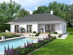 Case in legno Vario Haus Bungalow Family VII Bungalows, Roof Styles, House Styles, Modern Pool House, Architect Design House, Spanish Exterior, Model House Plan, Bungalow Homes, House Front Design