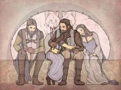 """Wolf Blood by ~mustamirri on deviantART. Ned Stark, Arya Stark, Brandon Stark, and Lyanna Stark. """"Her father sighed. 'Ah, Arya. You have a wildness in you, child. 'The wolf blood,' my father used to call it. Lyanna had a touch of it, and my brother Brandon more than a touch. It brought them both to an early grave.' Arya heard sadness in his voice; he did not often speak of his father, or of the brother and sister who had died before she was born."""""""