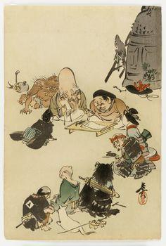 Fukurokuju and Daikoku (and some other otsu-e characters), ca. 1870s by Shibata Zeshin