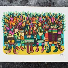 """""""Det var skikkelig surt og kaldt ute, så de tok på seg godt med klær.""""________(Dette bildet er laget med rester av maling som lå igjen på paletten etter at jeg hadde jobbet med et stort lerret. Litt sånn """"ikke hiv mat"""" men i kunstnerversjonen. Det blir også veldig tilfeldig hvilke farger jeg har å male med, gøy og intuitiv.) #gouache #painting #colorful #artistlife #work #nowaste #paint #kunst #art #gunillaholmplatou #illustration"""
