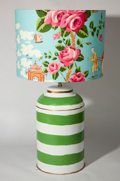 Look what Magnolia Interiors (Australia) has done with my Green Striped Tea Caddy Lamp.  Love this.