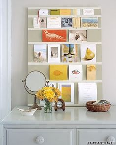Cards, photos, postcards, and more become a rotating art display when you slip them into this tack-free board.
