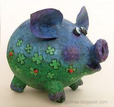 Gulnas' Kunstblog: Sparschwein in der Pappmachétechnik