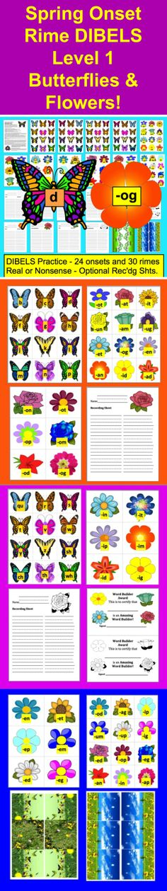 """$ Spring Literacy Center Activities –  Butterflies and Flowers Word Building - DIBELS - 29 Page Download - 3 Ways to Play -  24 Onsets and 30 Rimes (chunks or word families) Butterflies with onsets (beginning sounds and digraphs) match up to flowers with rimes (i.e. –at, -ip, -et). Optional recording sheets for students to write the cvc onset rime words they form. Play as a simple pick a butterfly and match it to a flower with a rime that forms a word. OR play """"Real or Nonsense?"""""""