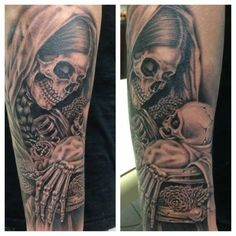 Day of the dead, mother and child tattoo