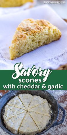 These savory scones with cheddar and garlic are a tasty addition to your next meal. Baked in a cast iron skillet they are garlicky and flaky for breakfast, brunch or dinner. Cheese Scones, Savory Scones, Cheddar Cheese, Homemade White Bread, Homemade Scones, Quick Bread Recipes, Raw Food Recipes, How To Make Scones, Best Comfort Food