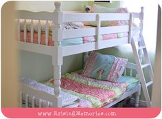 Shared Girls Room Bunk Bed Room Makeover (Mint, Coral, White & Mint) with Beddys Perfectly Mismatched Bedding