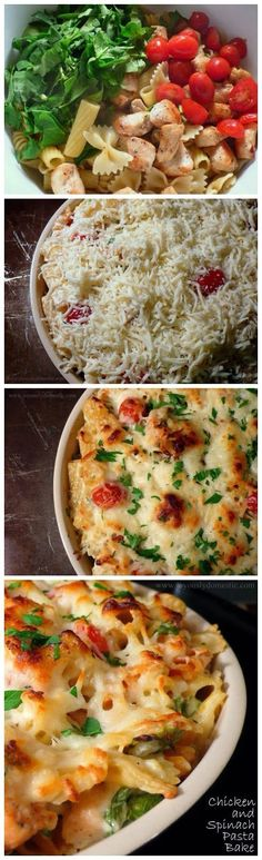 Yum chicken, pasta, and spinach, bake...all in one .