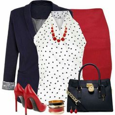 Outfit for the office. A nice pop of red helps to bring up a drag outfit. Cherry red pop bright office wear girlboss temple college intern