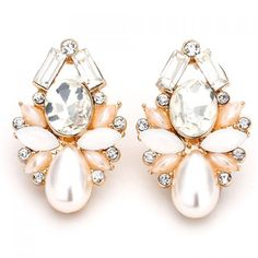 Pair of Elegant Faux Crystal Decorated Earrings For Women
