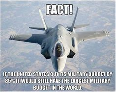 Cut the military budget and give back our vets the money and services they deserve!