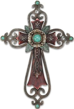Beautiful Resin and Turquoise Wall cross.
