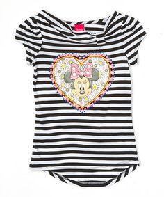 Another great find on #zulily! Black Stripe Minnie Mouse Tee - Girls #zulilyfinds