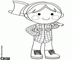 The lumberjack with the ax in the forest coloring page
