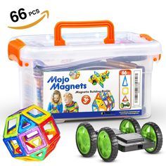 MOJO MAGS - Magnetic Blocks 66 PCS - Magnetic Tiles / Building Toys for Kids or