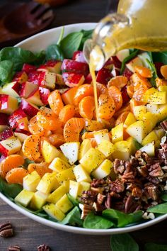 Apple Mandarin Orange Pear and Feta Spinach Salad with Orange Poppy Seed Dressing