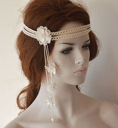 Wedding Headband, Lace Bridal Head Piece, Bridal Headband,  Bridal Hair Accessories