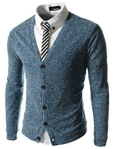 (JGA12-NAVY) Slim Fit 5 Button Pattern Sweater Cardigan