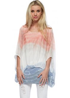 Monton Coral & Blue Watercolour Print Silk Top With Sequinned Hem
