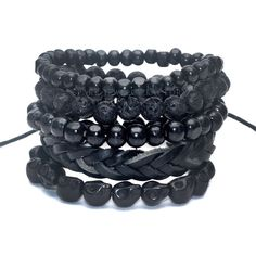 1 Set 5 pcs Black Out Bamboo wood, Lava Stone Beads , Stone Skull and Pull Closure Leather Bracelet Men's Fashion Bracelet Pack-in Charm Bracelets from Jewelry & Accessories on Aliexpress.com | Alibaba Group