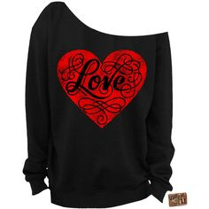 Valentine's Day Shirt Love Heart Slouchy Sweatshirt Off the Shoulder... ($25) ❤ liked on Polyvore featuring tops, hoodies, sweatshirts, shirts, sweaters, black, women's clothing, off shoulder shirt, unisex shirts and cut loose shirt