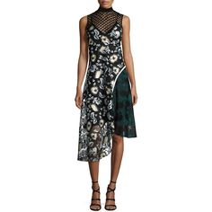 Self Portrait Asymmetric Lace & Printed Combo Dress (€215) ❤ liked on Polyvore featuring dresses, multi colors, asymmetrical dress, asymmetrical cocktail dress, floral lace dress, open back dresses and floral dresses