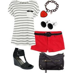 Black and White with Red Shorts, created by distantlover