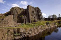 """Panská skála - basalt rock in northern Bohemia (Tertiary volcanism) - Panská basaltic rock is the oldest geological reserve in the country. Columns reach up to 12 meters high and their arrangement remind """"organ"""" - and also the rock nicknamed among people."""