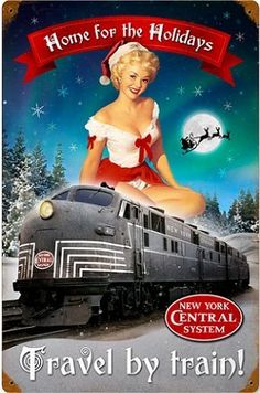 "Railroad Tin Sign - New York Central Railroad ""HOME FOR HOLIDAYS"" Rail Girl by V V. $26.99. Dechant's Railroad Express is pleased to present this vintage-looking New york Central Railroad sign with a rail girl ""HOME FOR THE HOLIDAYS"" sign. Made of 24 gauge steel and measures 11.5 W"" x 17.5 H"". This sign is weathered to ""look"" old, but is a new sign. PROUDLY made in the U.S.A."