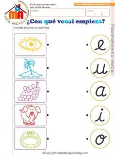 """Hoja de trabajo """" ¿Con qué vocal empieza? """" para trabajar con niños de educación inicial 5 años, razonamiento verbal. Une cada dibujo con su vocal inicial"""