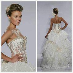 Wholesale 2014 Wedding Dress - Buy 2014 Fashion Bridal Ball Gown Sweetheart Beaded Handmade Flowers Lace Bones Lace Up Corset Bodice Pearls Pnina Tornai Wedding Dresses, $157.07 | DHgate.com