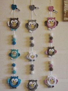 Strings of owls Mobiles, Crotchet, Knit Crochet, Knitted Owl, Bunting Garland, Garlands, Decoration, Crochet Patterns, Barn