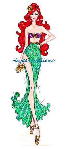 The Disney Princess collection by Hayden Williams: Ariel, The Little Mermaid, Disney art Hayden Williams, Disney Style, Disney Love, Disney Art, Disney Divas, Princess Art, Princess Sketches, Fashion Art, Fashion Design