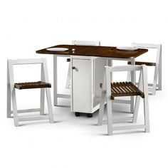 make your home more spacious with foldaway diningtable and chairs in white walnut - Dining Table With Chairs