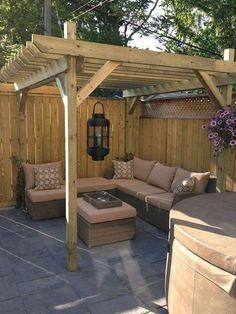 The pergola kits are the easiest and quickest way to build a garden pergola. There are lots of do it yourself pergola kits available to you so that anyone could easily put them together to construct a new structure at their backyard. Backyard Seating, Backyard Patio Designs, Small Backyard Landscaping, Backyard Pergola, Garden Seating, Pergola Plans, Backyard Ideas, Landscaping Ideas, Cheap Pergola