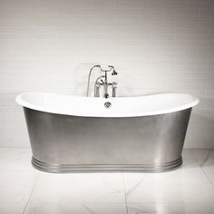 'The Cast Iron French Bateau Tub with Mixed Finish Stainless Steel Exterior and Penhaglion Step Base plus Drain Top Bathroom Design, Bathroom Remodel Master, Freestanding Cast Iron Tub, Tub, Amazing Bathrooms, Bathtubs For Sale, Luxury Bathroom, Bathroom Design, Steam Showers Bathroom