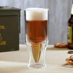 Hold Em Up Bullet Beer Glass, from HomeWetBar.com