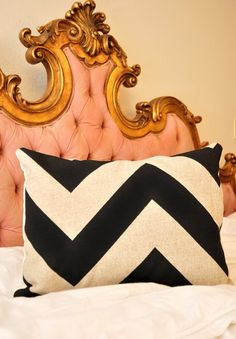 black and cream zigzag pillow
