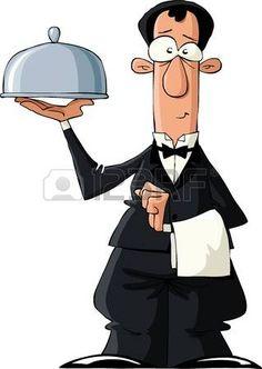 Der Kellner auf einem weißen Hintergrund, Vektor-Illustration