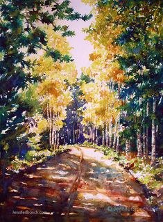 A fall walk down one of the old carriage roads in Acadia National Park. watercolor painting tutorial by Jennifer Branch