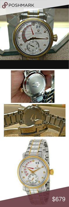 NWT $1,000 Bulova Accutron two tone men's watch NWT Bulova Accutron $1,000 Silver Dial Two Tone Stainless Steel Men's Watch    FIRM PRICE FIRM PRICE FIRM PRICE  $679.00  . AUTHENTIC WATCH  . AUTHENTIC BOX  . AUTHENTIC MANUAL    SHIPPING?  PLEASE ALLOW FEW BUSINESS DAYS FOR ME TO SHIPPED IT OFF.I HAVE TO GET IT FROM MY WAREHOUSE.?    THANK YOU FOR YOUR UNDERSTANDING.? Bulova Accessories Watches
