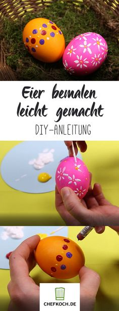 3 tricks for chic painted Easter eggs Chefkoch.de video - So every Easter egg can be beautifully painted - Mothers Day Crafts For Kids, Diy Gifts For Kids, Kids Origami, Diy Ostern, Coloring Easter Eggs, Egg Decorating, Easter Crafts, Happy Easter, Diy And Crafts