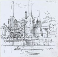 Sketches are always so interesting to see. A glimpse into the artists work methods. Leon Morrocco - Corner of Battersea Power Station from Across the River - Pencil 12 x 12 ins x cms) Battersea Power Station, Sketchbook Ideas, Drawing Techniques, Sketchbooks, Artist At Work, Thought Provoking, Journals, Concrete, Corner