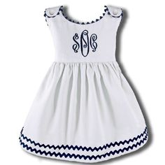 Garden Princess Dress White with Navy Trim Baby Outfits, Kids Outfits, Little Girl Dresses, Girls Dresses, Baby Dresses, Dress Girl, Vestidos Sport, Boutique Fashion, Herve Leger Dress