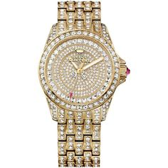 """Juicy Couture Women's Stella Crystal Accent Gold-Tone Stainless Steel Bracelet Watch 36mm 1901213"" found on Polyvore"