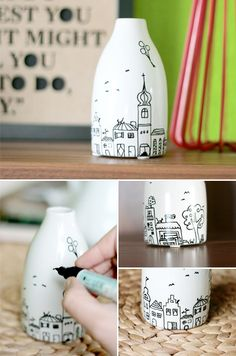 Gingered Things - DIY, Dekoration & Wohndesign: Vase mit kleiner Stadt Source by Sharpie Projects, Sharpie Crafts, Sharpie Art, Sharpies, Diy Bottle, Wine Bottle Crafts, Bottle Art, Pottery Painting, Ceramic Painting