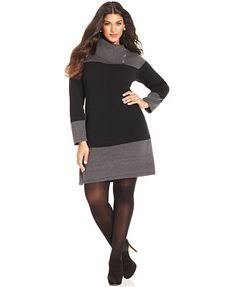 Style&co. Plus Size Colorblocked Sweater Dress